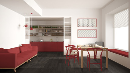 Minimalist kitchen and living room with sofa, table and chairs, white and red modern interior design
