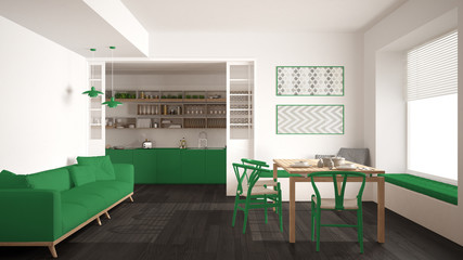 Minimalist kitchen and living room with sofa, table and chairs, white and green modern interior design