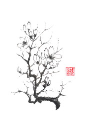 Blooming magnolia tree Japanese style original sumi-e ink painting.
