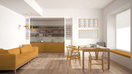 Minimalist kitchen and living room with sofa, table and chairs, white and yellow modern interior design