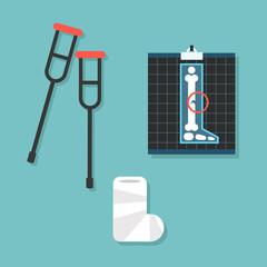 broken leg conceptual set: crutches, x-ray image and cast bandage / editable vector illustration, clip art