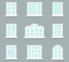 House windows building glass icons set flat design template vector illustration