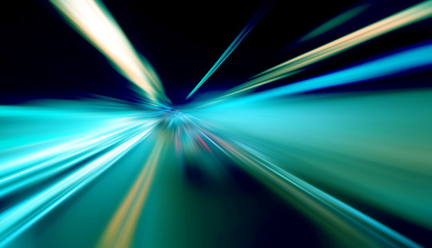 Abstract image of blurred traffic lights useful as background