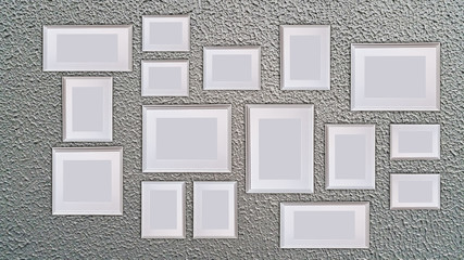 blank picture frame template set for Photo or picture painting art gallery in interior isolated on wall background .