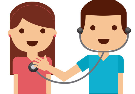 Cartoon Style Doctor and Medical Infographic Icon