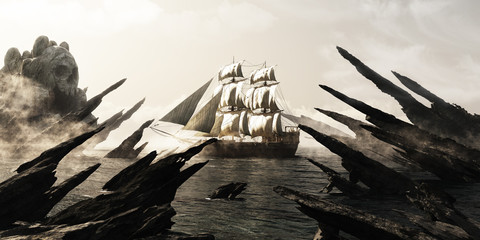 Search for skull island. Pirate or merchant sailing ship sailing toward a mysterious foggy skull shaped island. 3d rendering