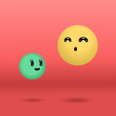 Two floating balls characters in kawaii style over a red background. Vector illustration