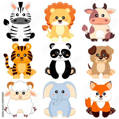 quot cute cartoon baby animals dog  cow  lion  sheep  tiger cute tiger cub clipart cute tiger face clipart black and white