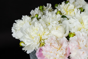 bouquet of pink and white peonies