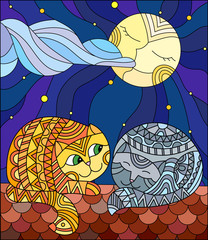 A couple of cats in stained glass abstract style sitting on the roof against the starry sky and the moon