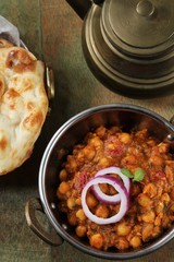 Channa Masala / Chole -Indian Curry with Chickpeas served in a Kadai