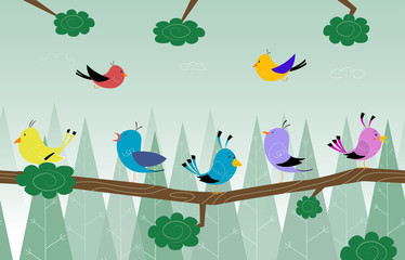 Cartoon cute birds is sitting on branch in the forest