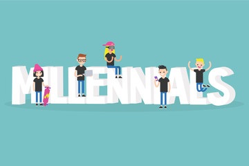 Illustrated sign. Group of smiling millennials / Flat vector clip art illustration.