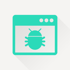 Application bug flat icon. Vector malware illustration