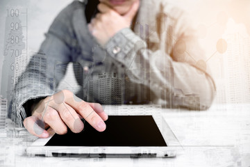 Attractive Modern business woman holding Digital tablet Screen in  building City Scape . Analyst Department Researching Process .