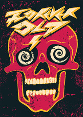 Forever Old. Typographic grunge party poster design with crazy skull. Retro vector illustration.
