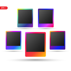 Photo frame with trend gradient. Colorful plastic border on a transparent white background. Vector illustration set frame.