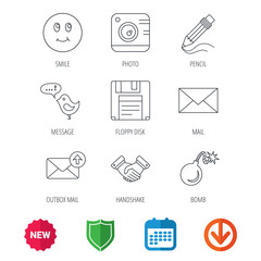 Photo camera, pencil and handshake icons. Inbox e-mail, message speech bubble and smile linear signs. New tag, shield and calendar web icons. Download arrow. Vector