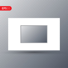 Photo frame. White frame with border on a transparent background. Vector illustration.