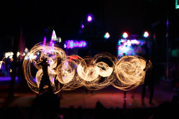 Fire artists doing show in Thailand