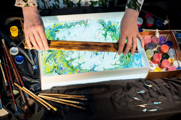 Process of creating drawings in ebru technique