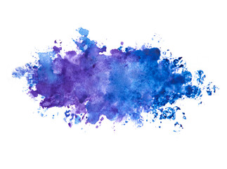 Abstract blue and violet watercolor painted background