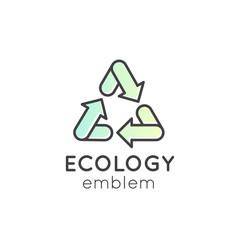 Isolated Vector Style Illustration Logo Set Badge Recycling Ecological Concept, Gradient Pastel Colour Background