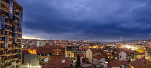 Prishtina (Pristina) Kosovo at Night – Panorama