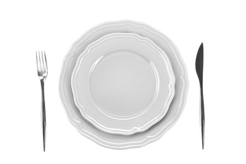 Table setting for one person on white background