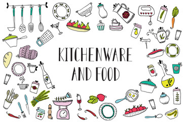 set of kitchen utensils and food. Design elements of kitchen.