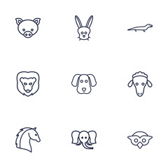 Set Of 9 Beast Outline Icons Set.Collection Of Pig, Elephant, Lion And Other Elements.