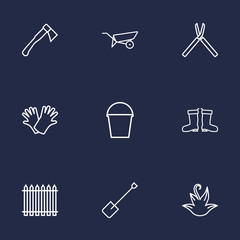 Set Of 9 Household Outline Icons Set.Collection Of Hatchet, Pail, Spade And Other Elements.