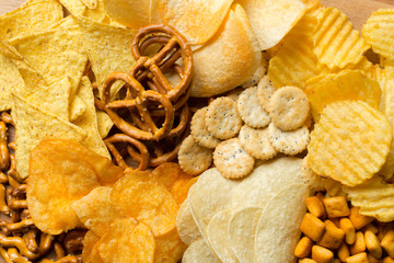 Salty snacks. Pretzels, chips, crackers