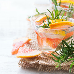 Grapefruit rosemary fresh infused water detox drink cocktail lemonade