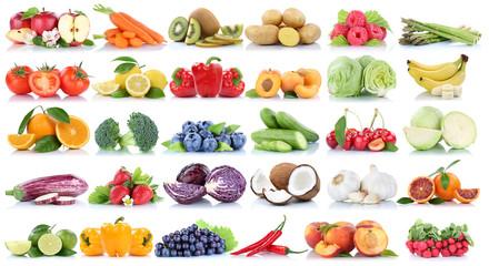 Wall Mural - Obst und Gemüse Früchte Sammlung Apfel Orange Weintrauben Bananen Beeren frische Freisteller freigestellt isoliert