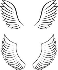 Two pair of outlined stroke black vector wings