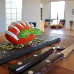 Italian caprese salad with moarella and tomato