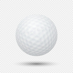Vector realistic flying golf ball closeup isolated on transparent background. Design template in EPS10.