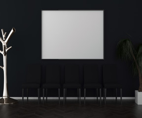 Dark interior background, blank picture frame mock