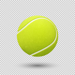 Vector realistic flying tennis ball closeup isolated on transparent background. Design template in EPS10.