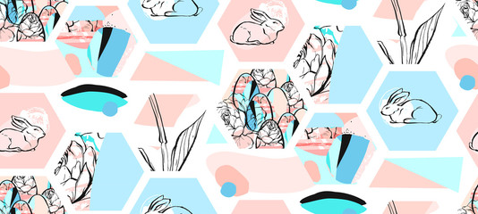 Hand drawn vector abstract artistic textured hexagon shapes Easter collage seamless pattern with graphic flowers,bunny and Easter eggs in pastel colors isolated on white background.Cute decoration.