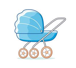 Blue baby child pram isolated.