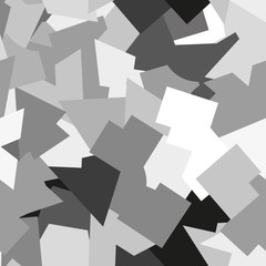 Seamless abstract geometric fashion or military camouflage pattern. Gray, white, black elements.