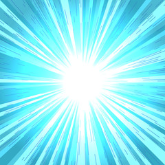 Comic book radial lines background. Effect of blue sunshine rays. Manga speed explosion frame with speed lines.