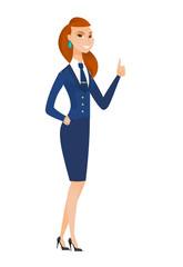 Stewardess giving thumb up vector illustration.