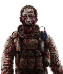 Zombie soldier shout concept. Drawing horror illustration. Scary character face picture.