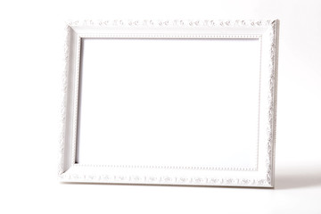White picture frame isolated on white background