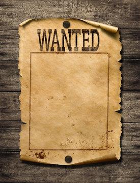 Wanted for reward poster 3d illustration