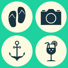 Season Icons Set. Collection Of Vitamin, Armature, Video And Other Elements. Also Includes Symbols Such As Photo, Flip, Camera.