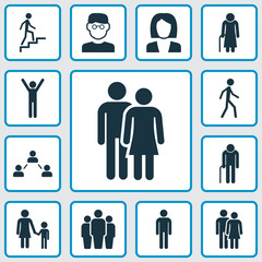 People Icons Set. Collection Of Ladder, Gentleman, Beloveds And Other Elements. Also Includes Symbols Such As Social, Jogging, Scientist.